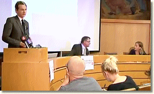 Julian Assange speaking at Stockholm seminar with Anna Ardin assisting